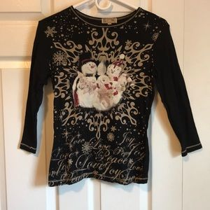 Black and Tan Sparkly Snowman Top